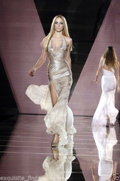 New VERSACE NUDE SEQUIN EMBELLISHED LONG DRESS GOWN 42 - 6 4