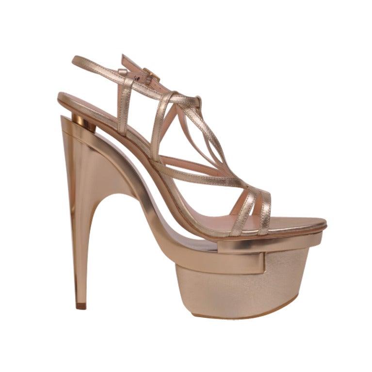 New VERSACE Metallic leather platform sandals For Sale