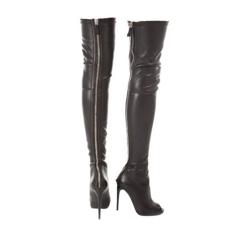 new tom ford black stretch leather the knee boots