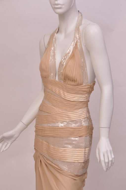 New VERSACE NUDE SEQUIN EMBELLISHED LONG DRESS GOWN 42 - 6 5