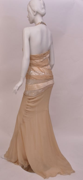 New VERSACE NUDE SEQUIN EMBELLISHED LONG DRESS GOWN 42 - 6 6