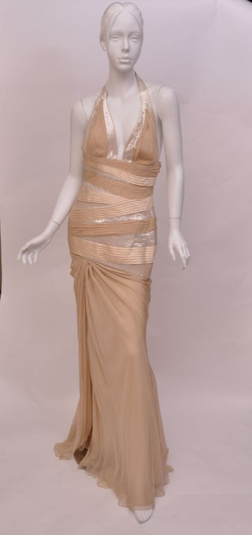 New VERSACE NUDE SEQUIN EMBELLISHED LONG DRESS GOWN 42 - 6 7
