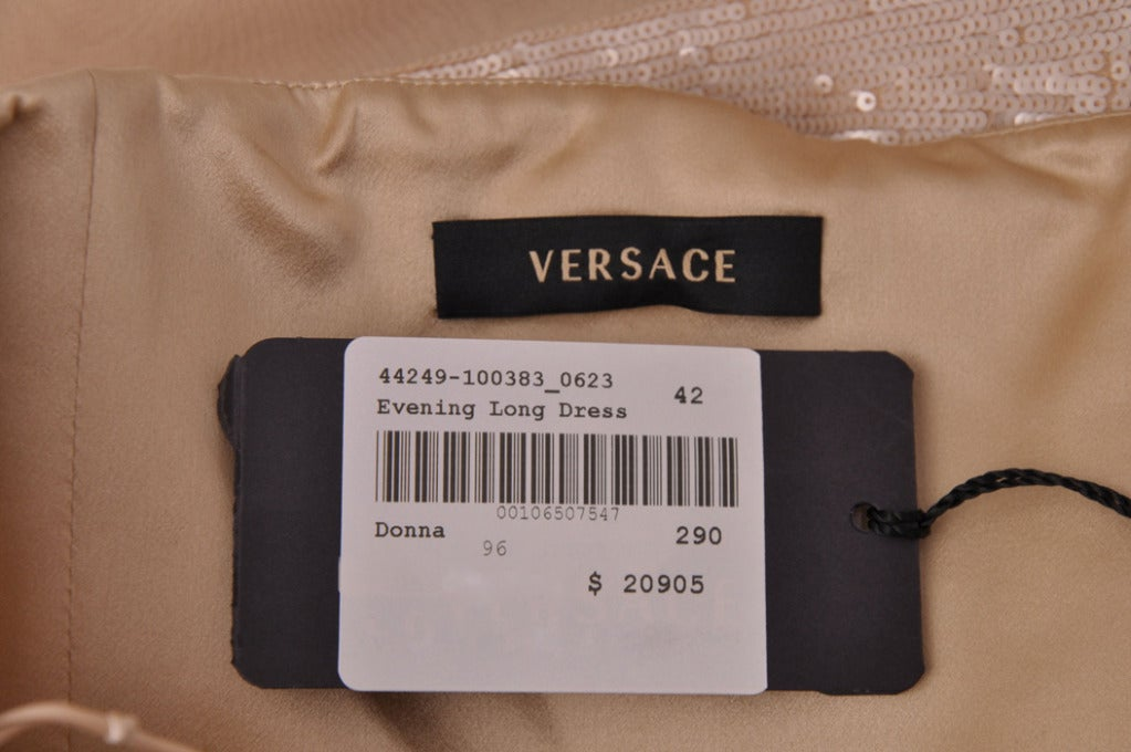 New VERSACE NUDE SEQUIN EMBELLISHED LONG DRESS GOWN 42 - 6 8