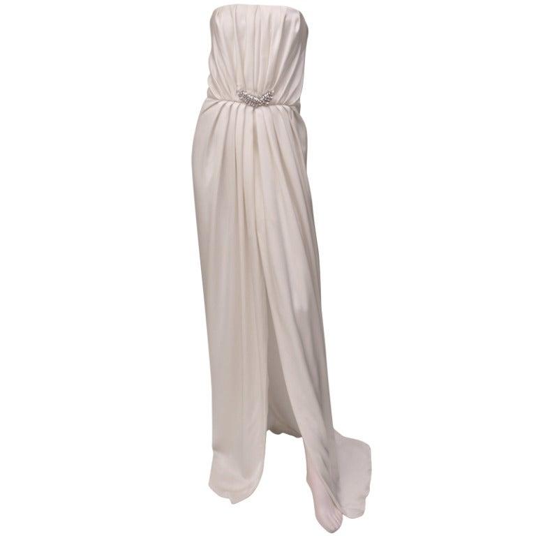 Saint Laurent Embellished White Silk Dress ***ROYAL CHOICE!