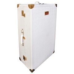 New GIANNI VERSACE EMBROIDERED WHITE LEATHER SUITCASE