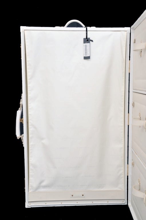 New Gianni Versace Embroidered White Leather Suitcase At