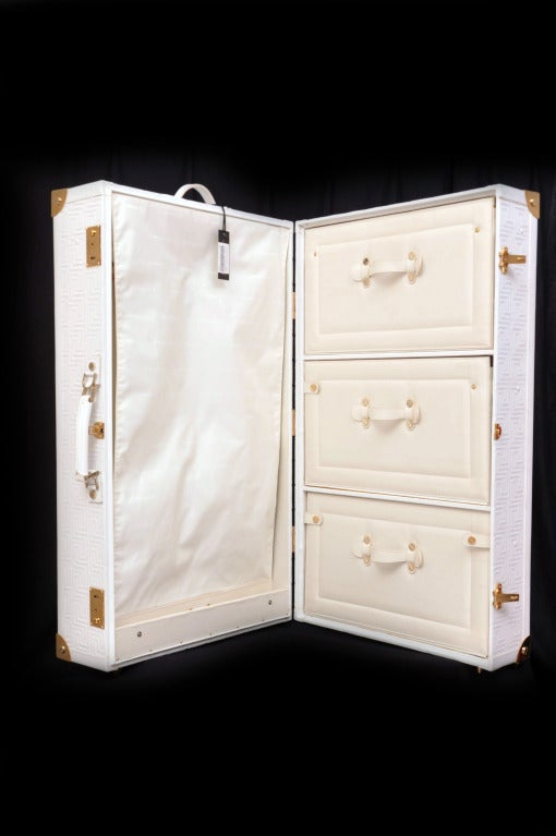 New GIANNI VERSACE EMBROIDERED WHITE LEATHER SUITCASE at 1stdibs