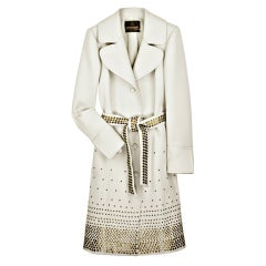 New ROBERTO CAVALLI OFF WHITE WOOL TRENCH COAT