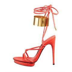 Tom Ford Brass Ankle-Wrap Snakeskin Platform Sandal