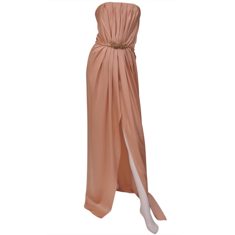 New Saint Laurent Edition Soir Strapless Nude Silk Dress Gown