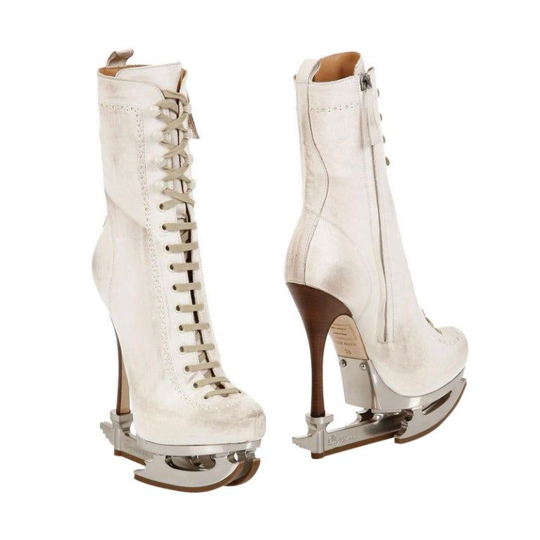 New DSQUARED2  ICE SKATE WHITE ANKLE LEATHER BOOTS size 39 1