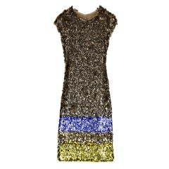 New OSCAR DE LA RENTA SEQUIN SPRAYED DRESS