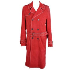 New DSQUARED MENS RED GOATSKIN LEATHER TRENCH COAT