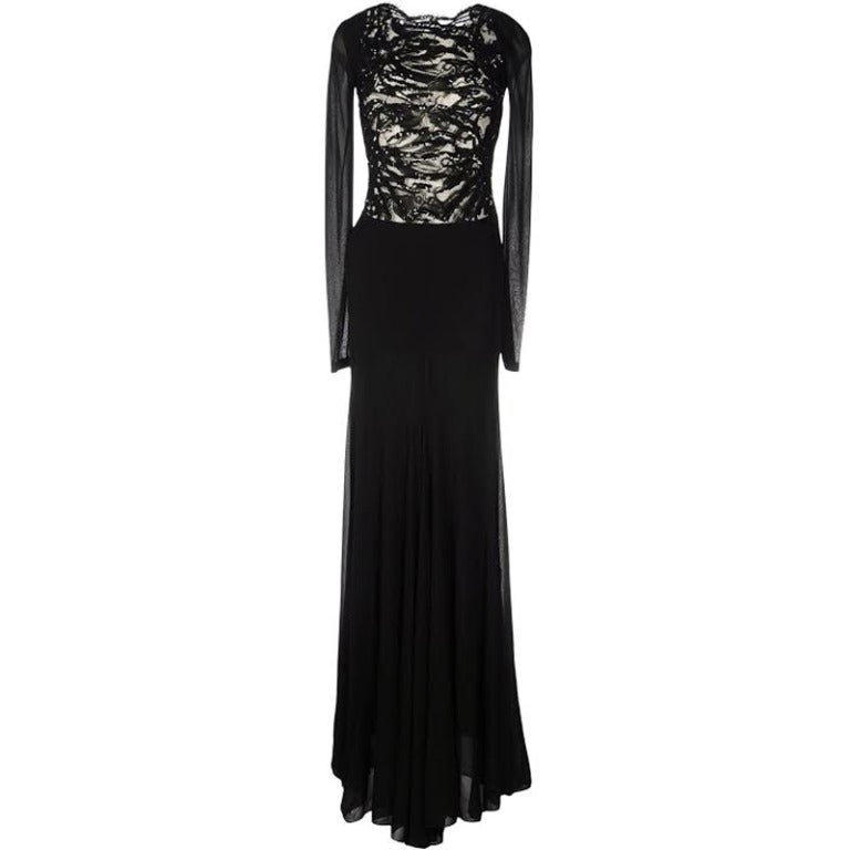 New Emilio Pucci Embellished Black Lace Gown For Sale