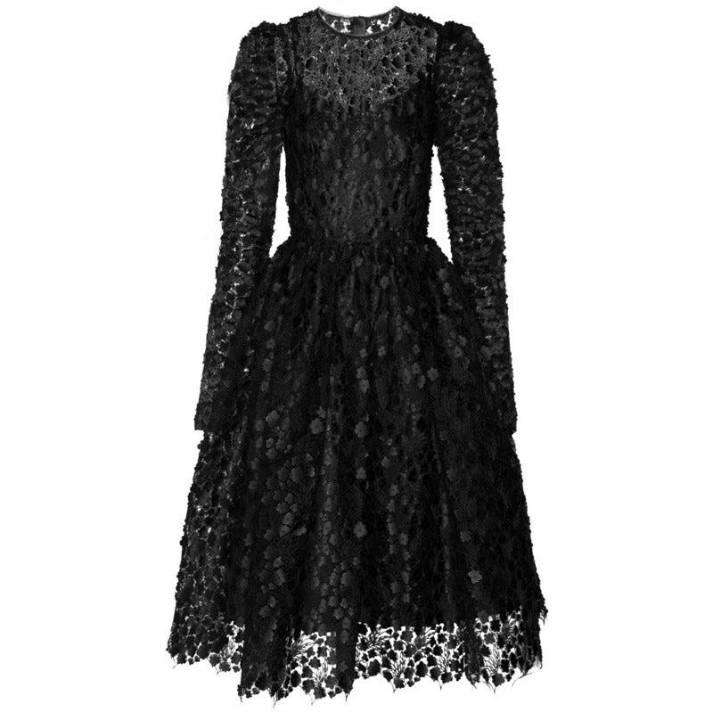$16,400 New DOLCE & GABBANA Black Floral Appliqué Lace Dress 1