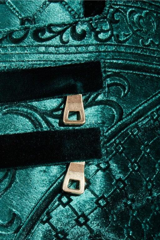 Balmain Emerald Velvet-brocade moto-style low-rise skinny jeans 2