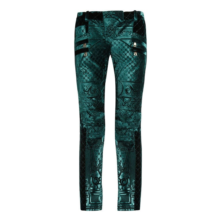 Balmain Emerald Velvet-brocade moto-style low-rise skinny jeans 1