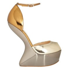 NEW GIUSEPPE ZANOTTI GOLD and SILVER MIRROR-EFFECT CUTOUT WEDGE LEATHER SHOES