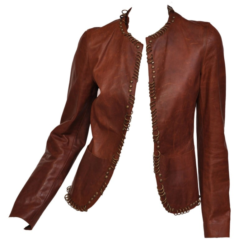 Tom Ford for YSL ring embellished cognac leather jacket 1