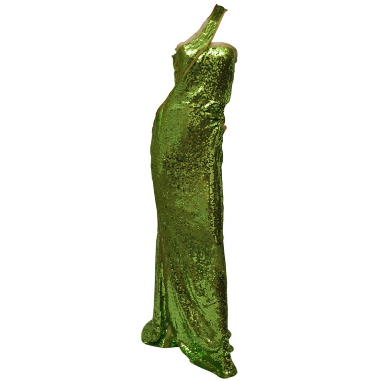 F/W 2004  TOM FORD for GUCCI GREEN SEQUINNED GOWN For Sale