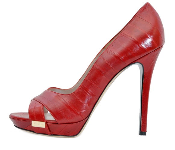New VERSACE RED EEL SKIN PLATFORM SHOES 40 - 10 2