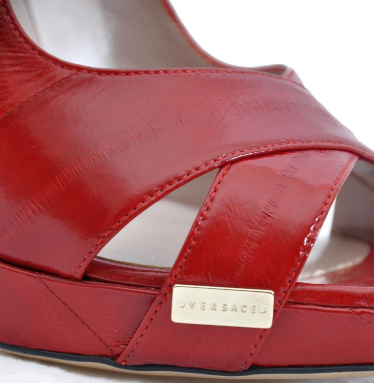 New VERSACE RED EEL SKIN PLATFORM SHOES 40 - 10 5