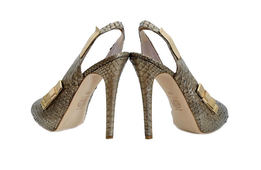 new versace bronze snakeskin platform shoes for sale at