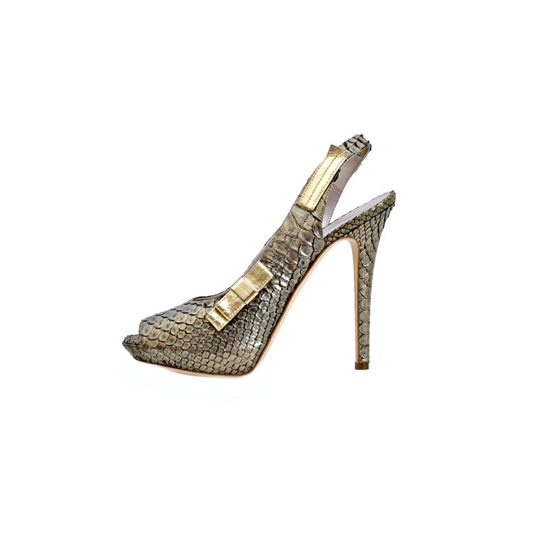 New VERSACE BRONZE SNAKESKIN PLATFORM SHOES