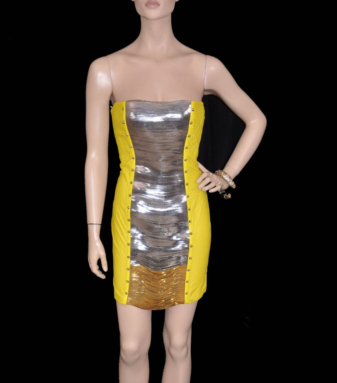 Beige Versace Yellow Leather Metal Panel Dress For Sale