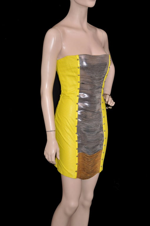 Versace Yellow Leather Metal Panel Dress In New never worn Condition For Sale In Montgomery, TX