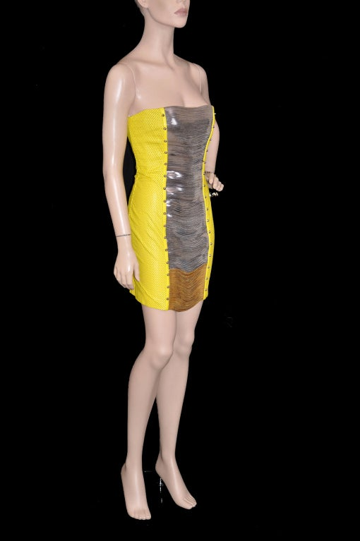 Women's Versace Yellow Leather Metal Panel Dress For Sale