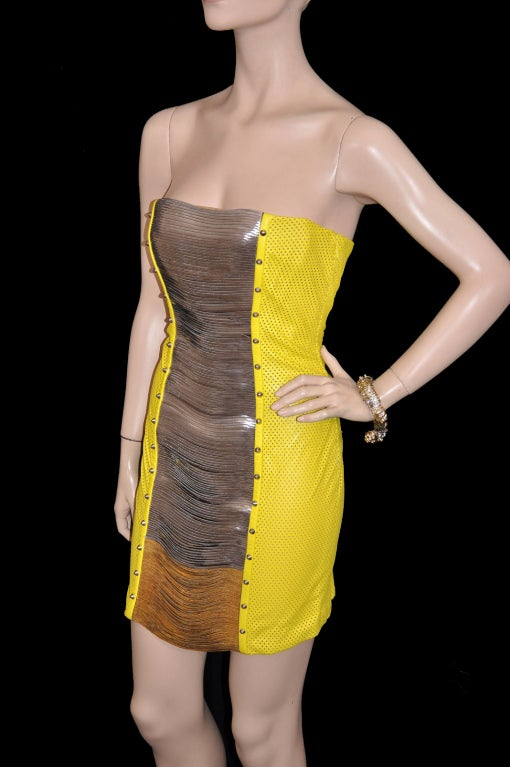 Versace Yellow Leather Metal Panel Dress For Sale 1
