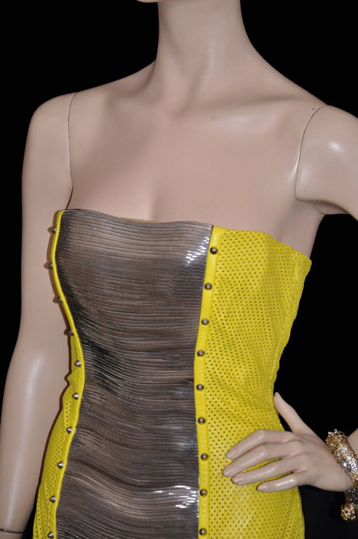 Versace Yellow Leather Metal Panel Dress For Sale 2