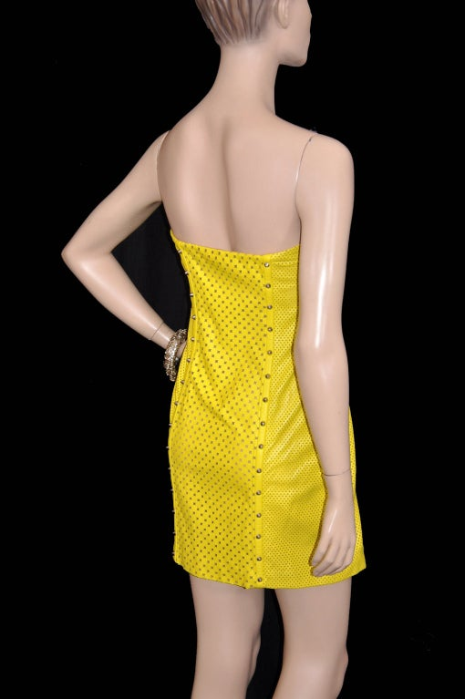 Versace Yellow Leather Metal Panel Dress For Sale 3