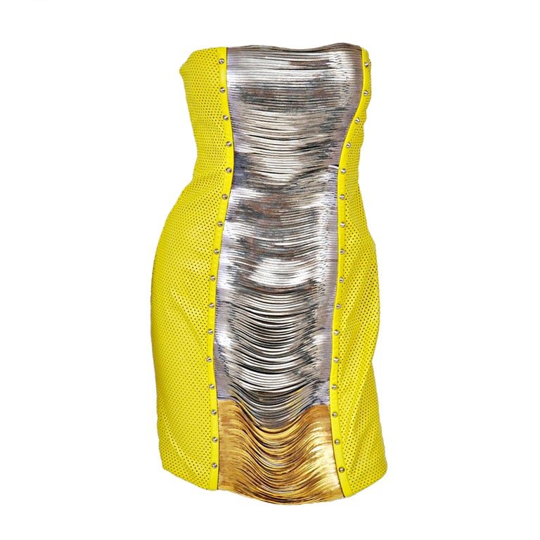 Versace Yellow Leather Metal Panel Dress For Sale