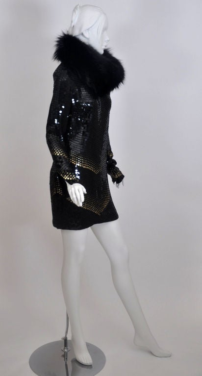 Gucci Sequin Dress With Fox Fur Scarf At 1stdibs