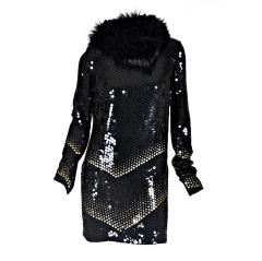 Gucci sequin dress with fox fur scarf