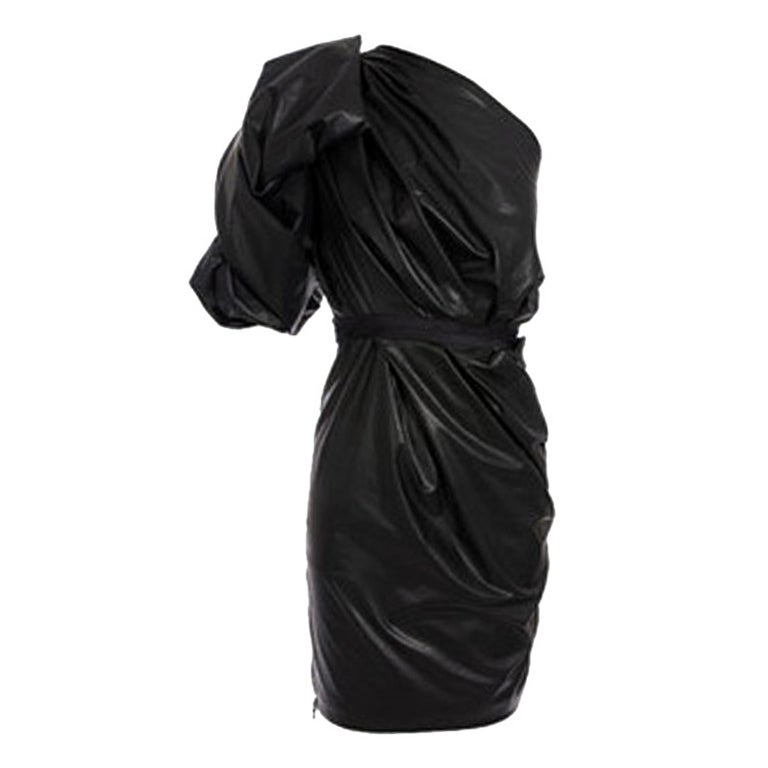 New LANVIN BLACK LEATHER DRESS 1