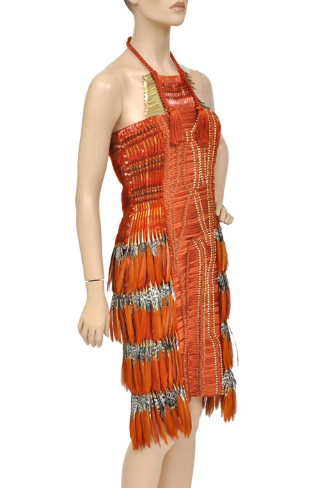 Gucci Embroidered Orange Dress with Feathers 2