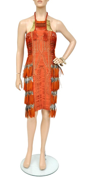 Gucci Embroidered Orange Dress with Feathers 3