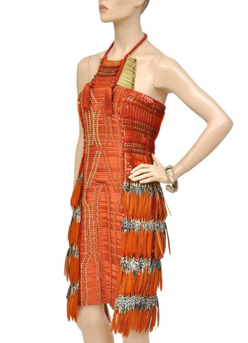 Gucci Embroidered Orange Dress with Feathers 4