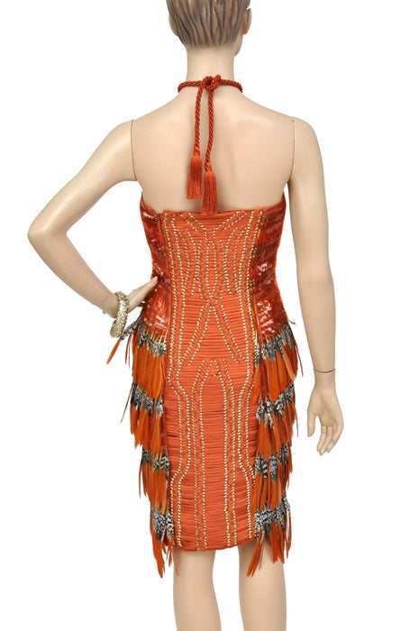 Gucci Embroidered Orange Dress with Feathers 6