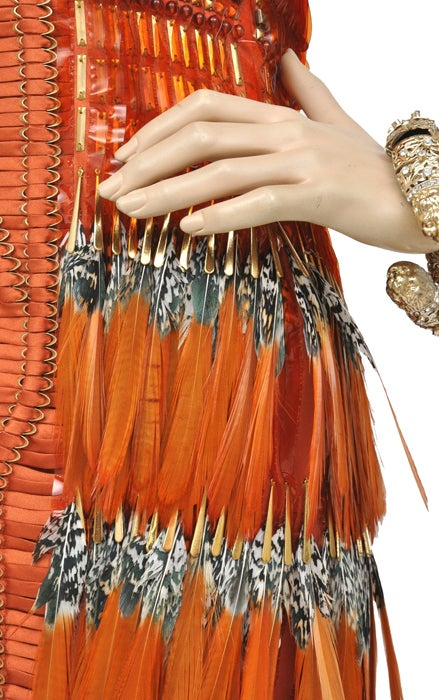 Gucci Embroidered Orange Dress with Feathers 7