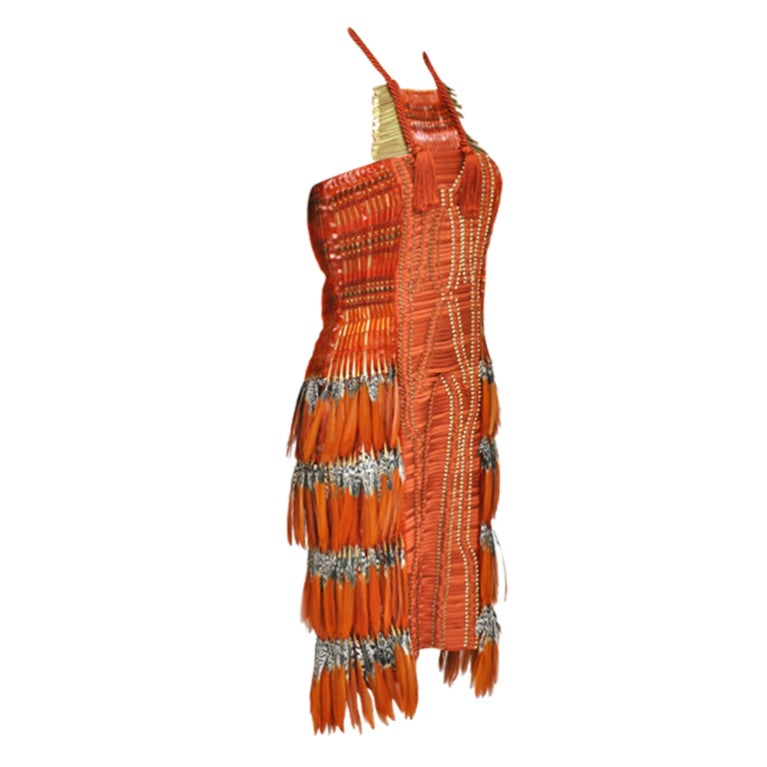 Gucci Embroidered Orange Dress with Feathers 1