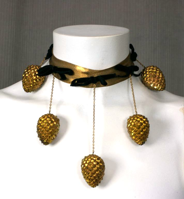Important Haute Couture Pine Cone Necklace made by Jean Schlumberger for Schiaparelli.