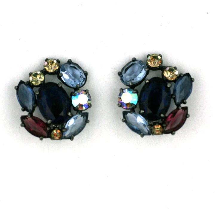 Women's House of Schiaparelli Multicolor and Iridized VariStone Earclips For Sale