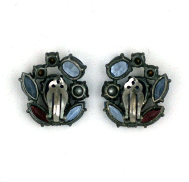 House of Schiaparelli Multicolor and Iridized VariStone Earclips For Sale 1