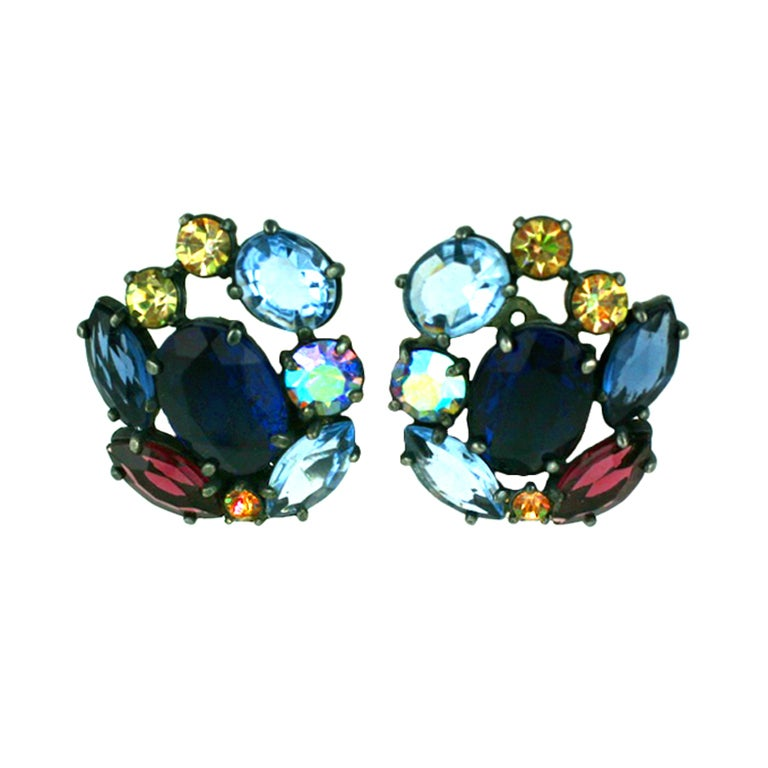 House of Schiaparelli Multicolor and Iridized VariStone Earclips For Sale