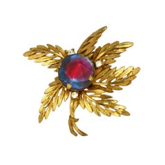 House of Schiaparelli Blue Aurora Palm Leaf Brooch