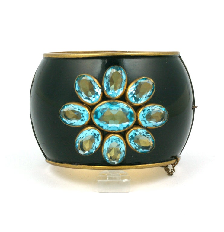 Schiaparelli Haute Couture Cuff from the late 1930s of bezel set open back oval